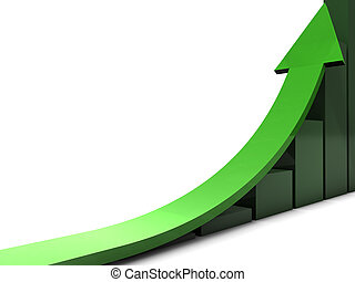 Green business trend - Upwards directed arrow to illustrate...