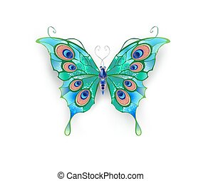 Green butterfly - butterfly with green wings, decorated with...