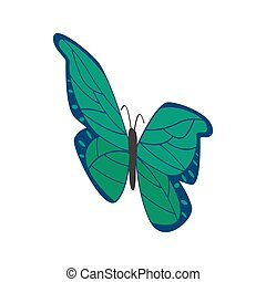 Green butterfly icon, isometric 3d style