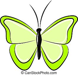 Green butterfly, illustration, vector on white background.