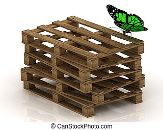 Green butterfly is sitting on a stack of wooden pallets