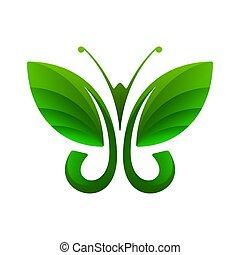 Green butterfly, leaf shape, vector illustration
