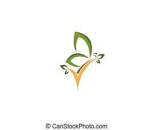 Green butterfly logo design