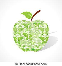 Green butterfly make a apple