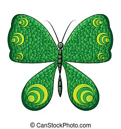 Green butterfly on white