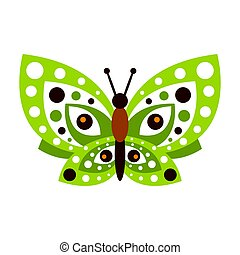 Green butterfly with open wings vector Illustration