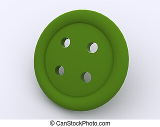 button - green button. 3d