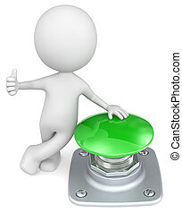 Green Button. - The Dude with thumb up and hand on green...