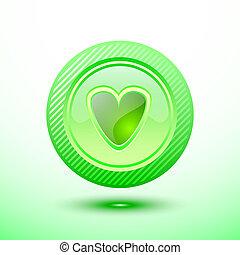 Green button heart