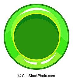 Green button icon, cartoon style
