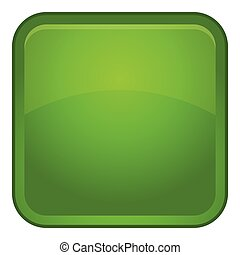Green button icon, cartoon style