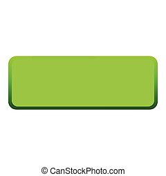 Green button icon, flat style