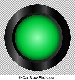 Green button in black frame on transparent background for web. Isolated vector object. EPS 10