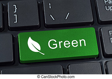 Green button keyboard with icon of leaf.