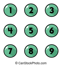 Green Button Number Icon