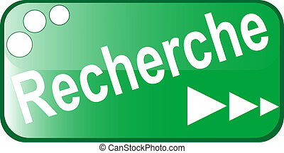 green Button RECHERCHE Web icon