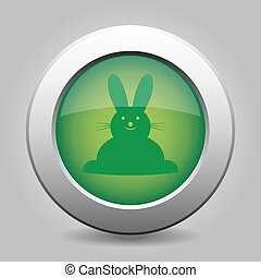 green button with Easter bunny