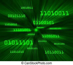 Green bytes of binary code flying through a vortex...