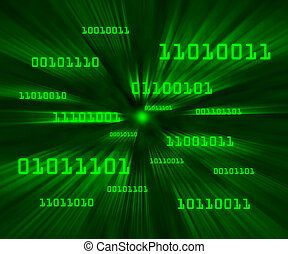 Green bytes of binary code flying through a vortex...