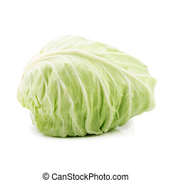 Green cabbage isolated on white background.