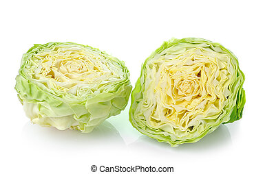 green cabbage isolated on white