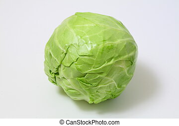 Green cabbage on white background. Top view