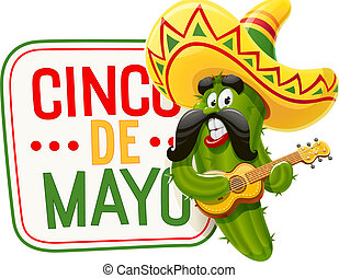 Green cactus. Character for Cinco de Mayo - Character for ...