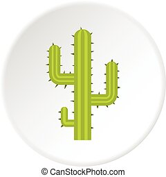Green cactus icon circle