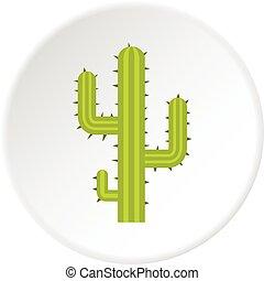 Green cactus icon circle