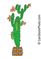 green cactus on white background, vector illustration