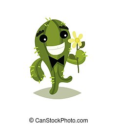 Green cactus with bow-tie and flower in hand. Funny succulent plant with happy face expression. Flat vector icon