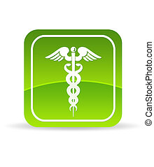 High resolution green caduceus health icon on white background.