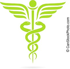 Green caduceus snake vector symbol