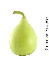 Green calabash on white background.