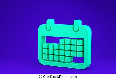 Green Calendar icon isolated on blue background. Minimalism concept. 3d illustration 3D render