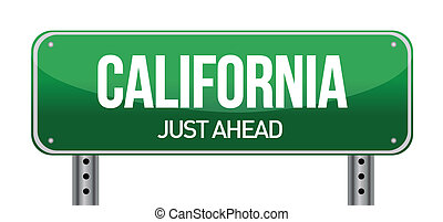 green California, USA street sign illustration design over...