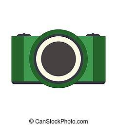 Green camera flat icon