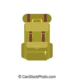 Green camping backpack