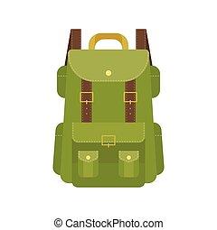 Green camping backpack illustration, flat design vector