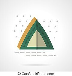 Green camping tent flat color design vector icon