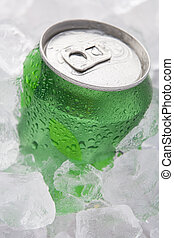 Green Can Of Fizzy Soft Drink Set In Ice