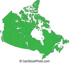 Green Canada map