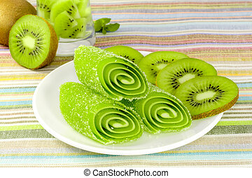 green candy fruit with kiwi on a plate