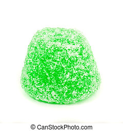 green candy on white background