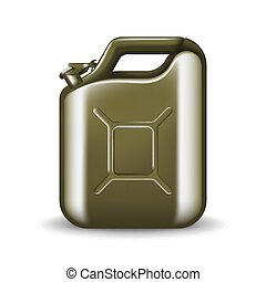 Green canister of engine oil or petroleum isolated on white. Container with fuel vector illustration in realistic style. Power and energy