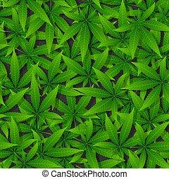 Green cannabis leaf seamless pattern