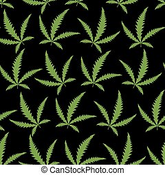 Green Cannabis leafs on a black background seamless pattern.