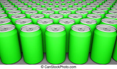 Green cans. Soft drinks or beer production. Recycling packaging. 4K seamless loop dolly clip, cartoon animation