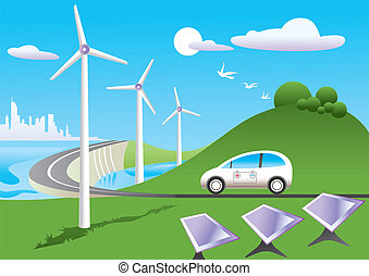 Green car among energy sources