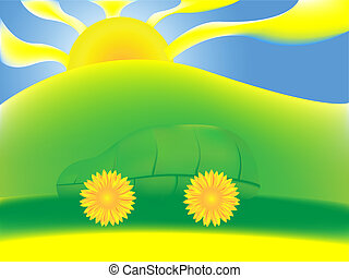 A green car made of leaf and sunflowers in a green scenery, eps8